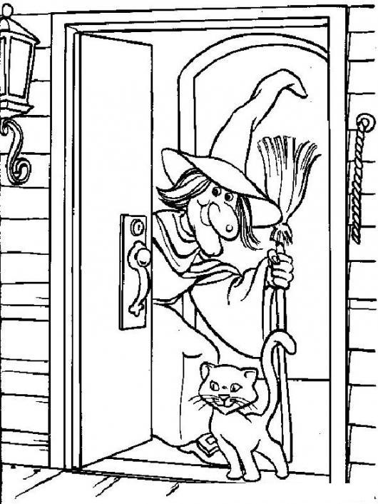 Dibujo De La Casa De La Bruja Con Su Gato Negro Para Pintar Y ...