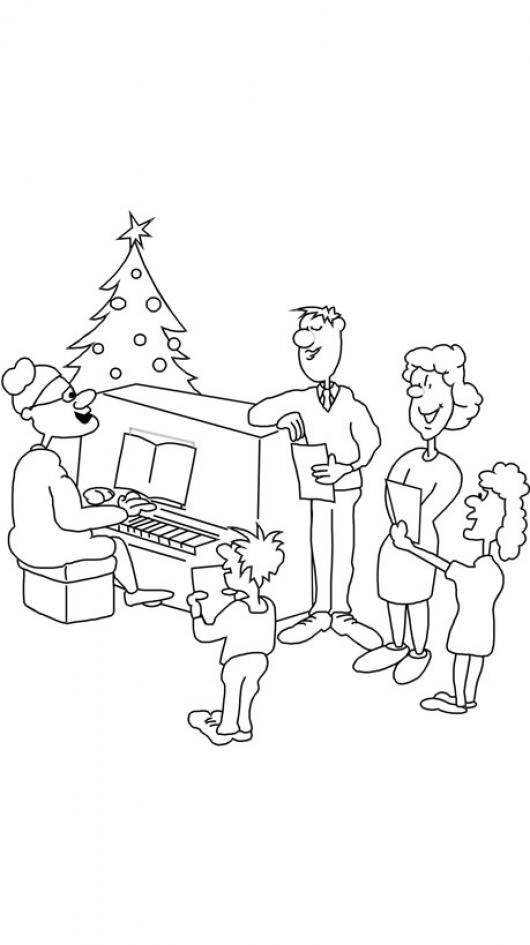 Familia Cantando Villancicos De Navidad Frente A Santa Claus Tocando ...