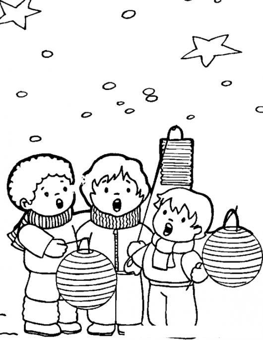 Dibujo de ninos cantando villancicos navidenos bajo las - Dibujos navidenos para ninos ...
