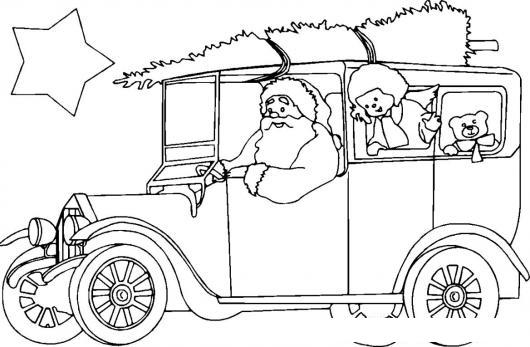 Dibujo Del Carro De Santaclaus Llevando El Arbolito De Navidad Para