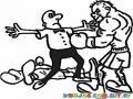 Dibujo De Knock Out Con Referi Parando La Pelea Para Pintar Y Colorear