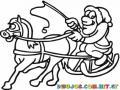 Dibujo De Santa Claus Con Trineo Jalado A Caballo Para Pintar Y Colorear