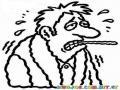Dibujo De Hombre Con Temperatura Sudando Y Temblando De Frio Para Pintar Y Colorear