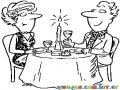 Dibujo De Pareja Comiendo En Un Restaurante Celebrando Su Aniversario De Bodas Para Pintar Y Colorear
