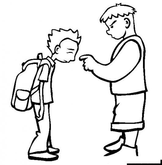 dibujo de bullying en la escuela para pintar y colorear a un chico malo amenazando a un nino en el colegio