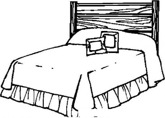 Dibujo de una cama matrimonial con dos almohadas y un for Cama para colorear