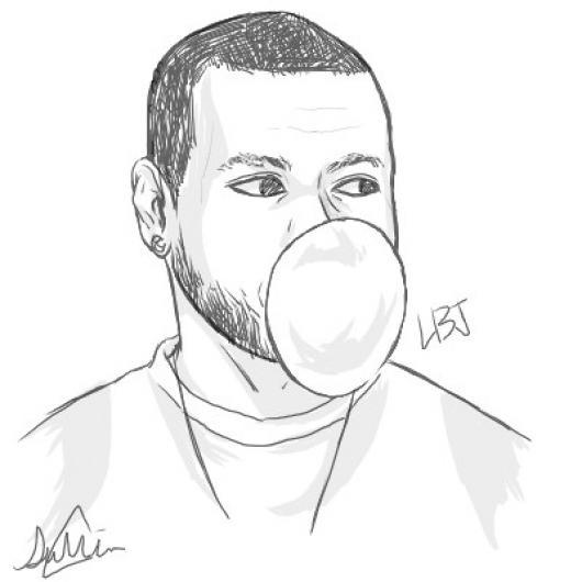 Dibujo De Lebron James Mascando Bubble Gum Y Haciendo Una ...