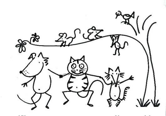 Dibujo De Perro Gato Y Taron De Amigos Para Pintar Y