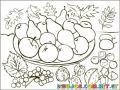 Plato De Frutas Para Pintar Y Colorear
