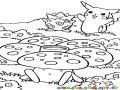 Dibujo De Pokemones En Campo De Hongos Para Pintar Y Colorear