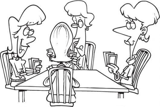Dibujo De Amigos Jugando Cartas Para Pintar Y Colorear Familia