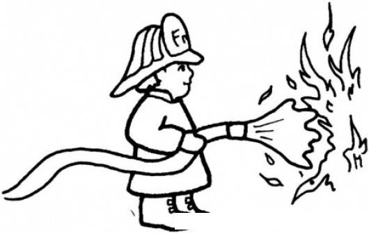 Dibujo De Bombero Apagando El Fuego Para Pintar Y Colorear