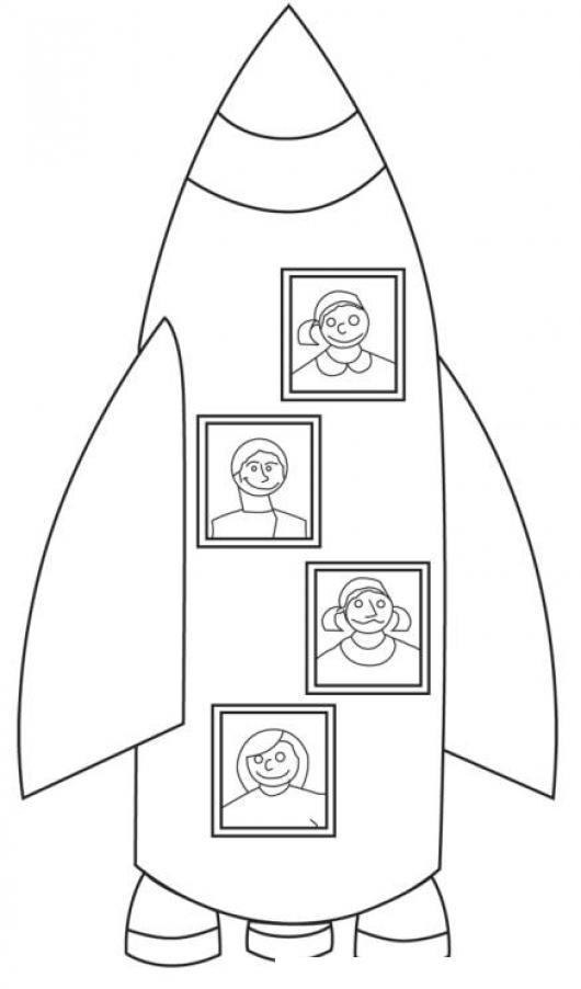 Dibujo De Cohete Espacial Con 4 Astronautas Para Pintar Y Colorear ...