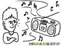 Dibujo De Nino Oyendo Musica En Una Grabadora Para Pintar Y Colorear