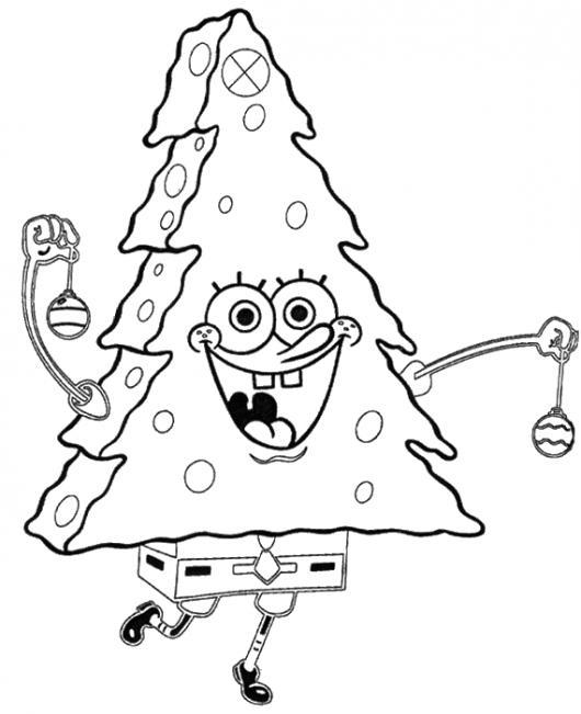 Dibujo De Bob Esponja Disfrazado De Arbolito De Navidad Para