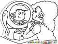 Mujer En Espejo Dibujo De Chica Arreglandose Frente A Un Espejo Para Pintar Y Colorear