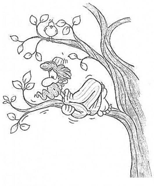Dibujo de hombre aferrado a la rama de un arbol para for Focos para iluminar arboles
