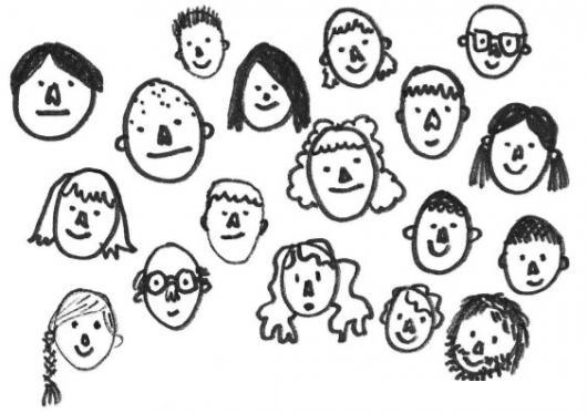 Muchas Caras Dibujo De Varias Caritas De Personas Para Pintar Y
