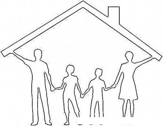 Dibujo De Familia Sosteniendo El Techo De Una Casa Para Pintar Y