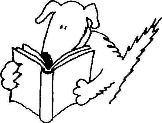Dibujo De Perro Leyendo Un Libro Para Pintar Y Colorear   COLOREAR ...