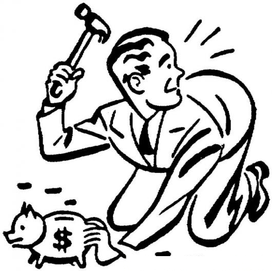 Retiro De Ahorros Dibujo De Hombre Sin Dinero Partiendo Su