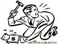 Retiro De Ahorros Dibujo De Hombre Sin Dinero Partiendo Su Alcancia Para Pintar Y Colorear Recesion Y Tiempos Dificiles