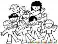 Colegio Mixto Para Ninos Jardin Infantil Dibujo De Ninos Felices En El Colegio Para Pintar Y Colorear