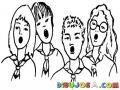 Dibujo De Estudiantes Cantando Para Pintar Y Colorear Ninos Cantando El Himno Nacional