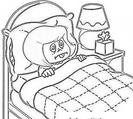 Gripe catarro y tos dibujo de nina enferma de gripe - Dibujos para cabeceros de cama ...