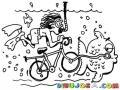 Dibujo De Buzo En Bicicleta Bajo El Agua Para Pintar Y Colorear