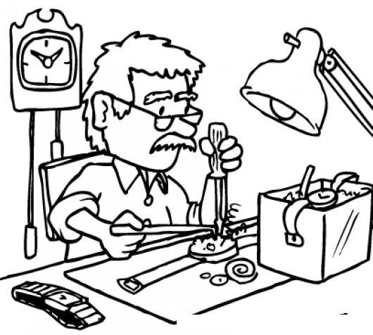 Relojerias Dibujo De Relojero Reparando Un Reloj Para Pintar Y ...