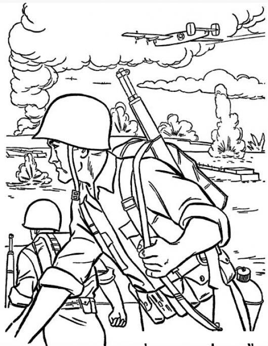 Guerra Mundial Dibujo De Soldados En Guerra Para Pintar Y Colorear