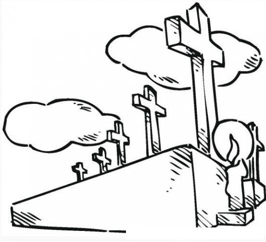 Cementerios Y Campos Santos Dibujo De Cruces En Tumbas De