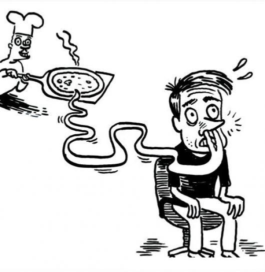 Pizza De Jamon Y Queso Derretido Dibujo De Hombre Sintiendo El Olor ...