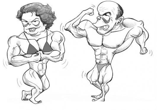 Fisiculturistas Dibujo De Mujer Fisiculturista Y Hombre ...