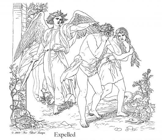 Pintar dibujo de adan y eva expulsados del paraiso for Adan y eva en el jardin del eden para colorear