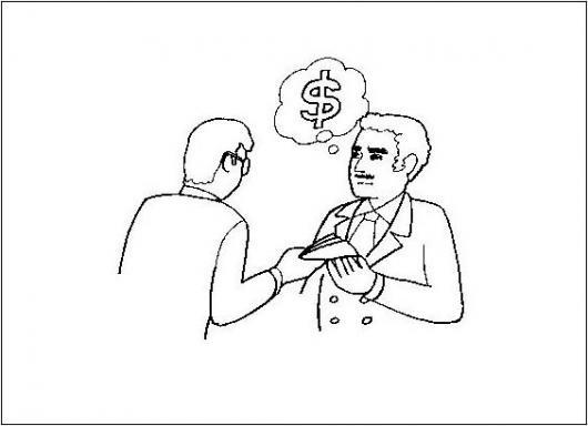 Pensando En Dinero Dibujo De Un Empleador Pagando El Sueldo A Un Empleado Para Pintar Y Colorear