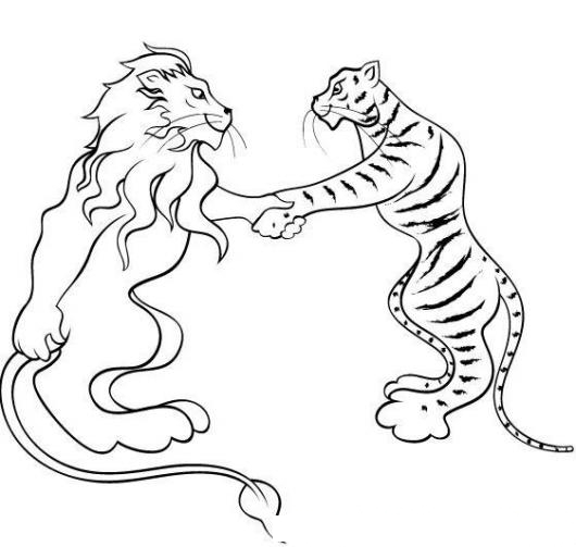 Leon Y Tigre Haciendo Las Paces Dibujo De Un Leon Dando La Mano A Un