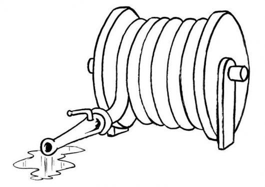 Manguera Enrollada Dibujo De Manguera De Bomberos En Su Carrete