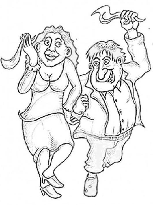 Dibujo De Esposos Contentos Bailando Cueca Con Panuelos Para Pintar ...