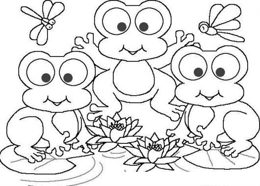 dibujo de tres ranas en un pantano para pintar y colorear