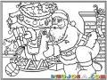 Dibujo De Santaclaus Dejando De Regalo Un Caballito De Madera Abajo Del Arbol De Navidad Para Pintar Y Colorear