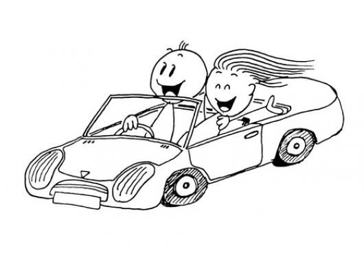 Carros Convertibles Dibujo De Una Pareja De Novios En Un Carro