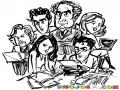 Equipo De Reporteros Para Pintar Y Colorear Dibujo Reporteros En Una Oficina De Redaccion De Noticias