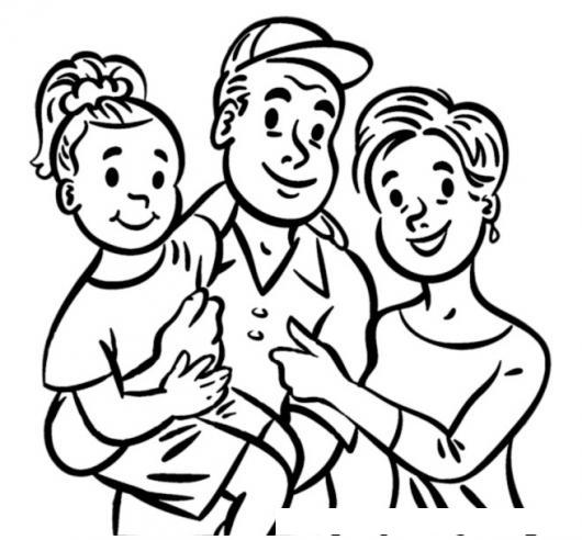 Dibujo De Familia Con Una Hija Para Pintar Y Colorear Hija Papa Y