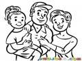 Dibujo De Familia Con Una Hija Para Pintar Y Colorear Hija Papa Y Mama