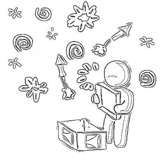 Juegos Pirotecnicos Dibujo De Nino Con Caja De Luces Pirotecnicas