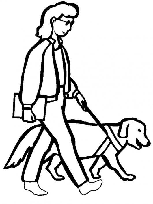 Dibujo De Mujer Ciega Con Perro Guia Para Pintar Y Colorear