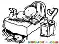 Dibujo De Nino Leyendo En Un Libro En Su Cuarto Sobre Su Cama Para Pintar Y Colorear Chico Leyendo En Su Habitacion