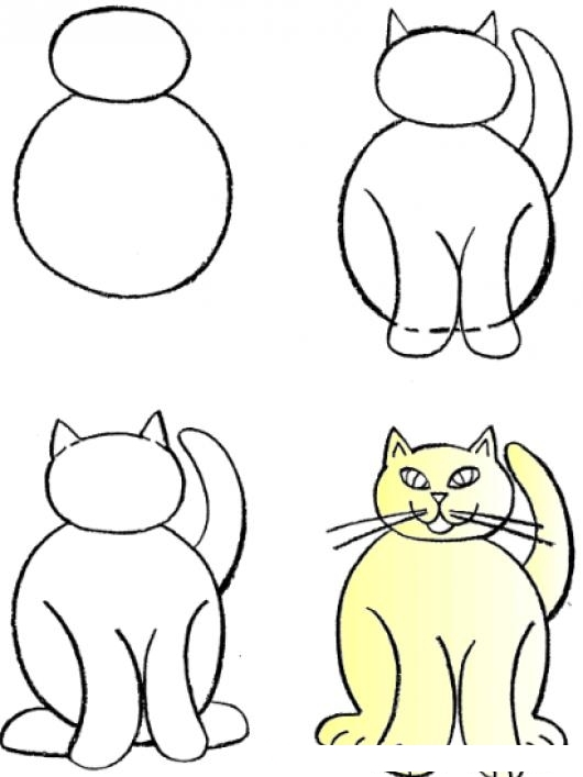 Tutorial Para Aprender A Dibujar A Un Gato Paso Por Paso Dibujo De Gato Facil De Hacer Para Pintar Y Colorear